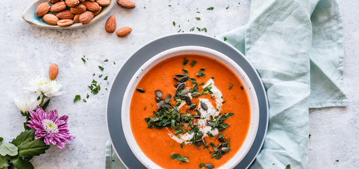 Sweet Potato and Red Pepper Soup with Coconut Milk