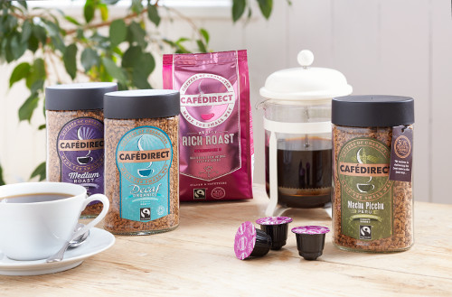 A glimpse of the Cafedirect coffee range.