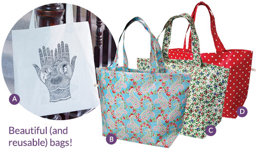 Our favourite reusable bags - avoid the plastic bag charge!