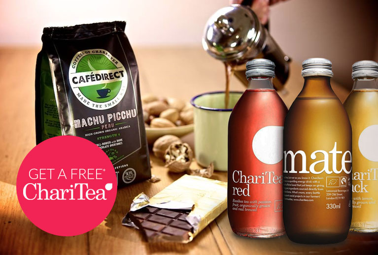 Get a FREE Charitea drink when you buy 2 selected Cafédirect products
