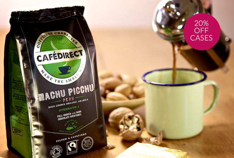 Stock up on your Fairtrade favourites with 20% off Cafedirect case sizes