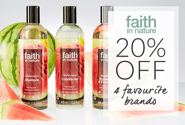 20% off 4 of our top brands! Try Faith in Nature skincare, hair care and beauty