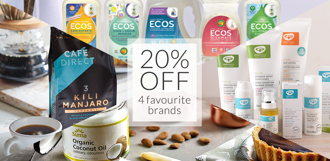20% off Cafedirect, ECOS, Suma and Green People