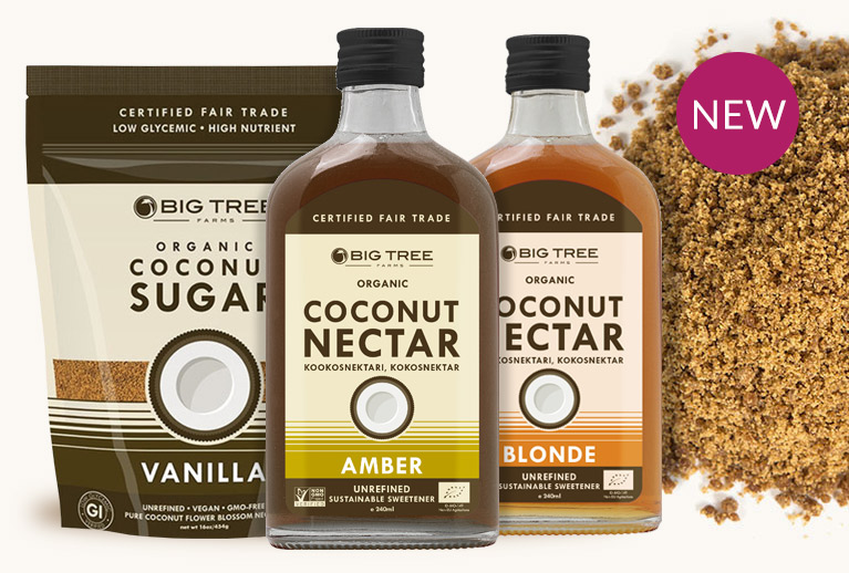Big Tree Farms organic coconut nectar and sugars