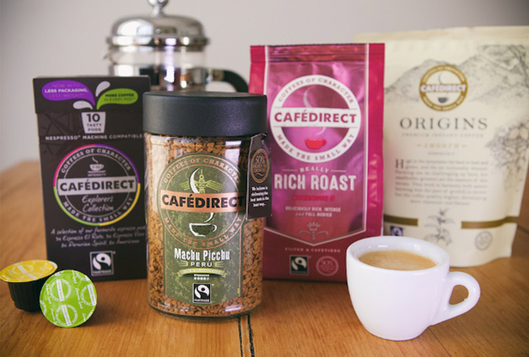 Fairtrade Cafedirect tea, coffee and hot chocolate