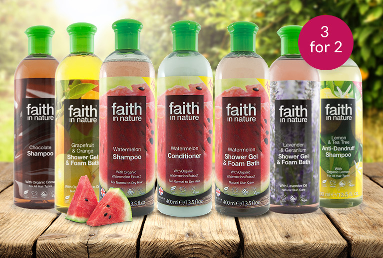 3 for 2 on Faith in Nature 400ml shampoo, conditioner and bath products