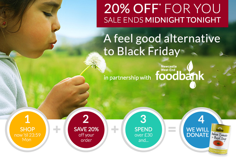 20% off for you and donations to Newcastle Foodbank - the Feel Good Alternative to Black Friday ends at midnight tonight