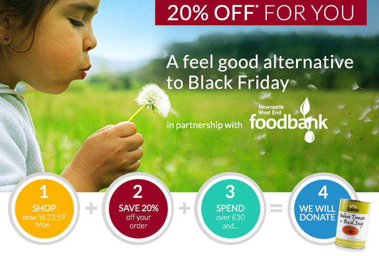 20% off for you and donations to Newcastle Foodbank - the Feel Good Alternative to Black Friday.