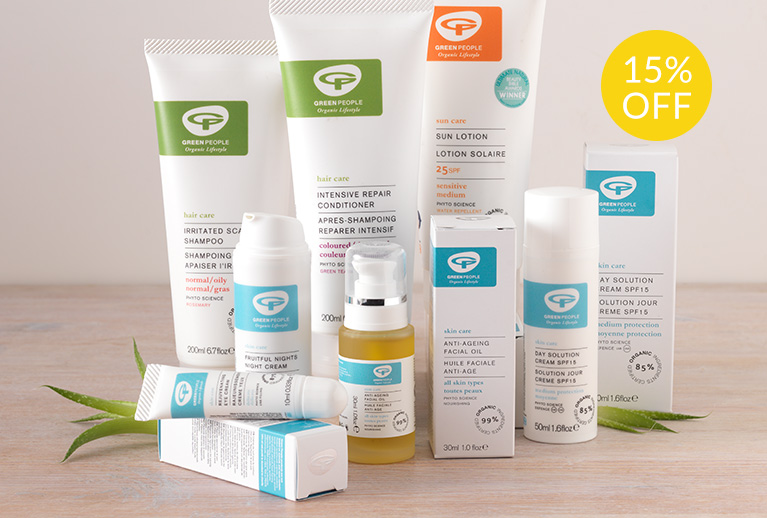 15% off Green People skincare, body care, cosmetics and more
